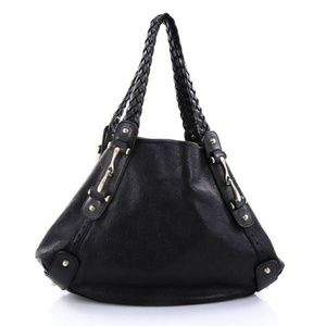 Gucci Black Embossed Pelham Leather Hobo Shoulder